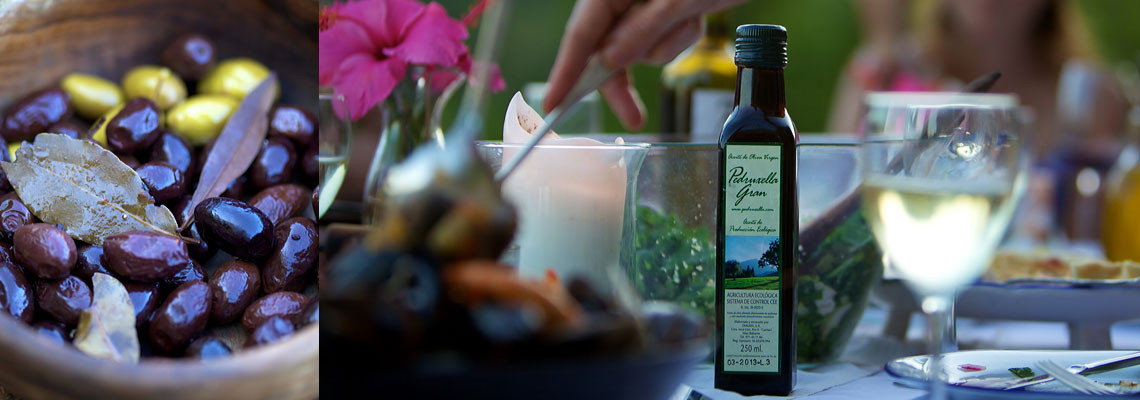 Olive oil and organically farmed food